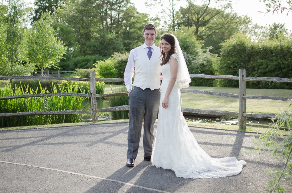 Bride and groom at Colstford Mill, Oxted as sthe sun sets
