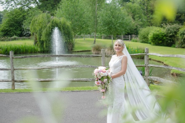Bride with Coltsford Mill fountain behind