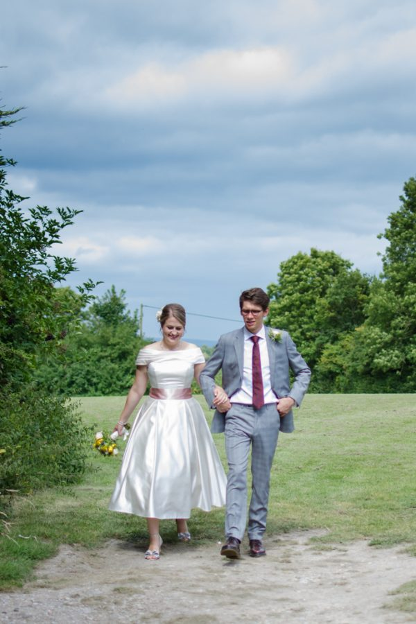 Bride and groom in the country