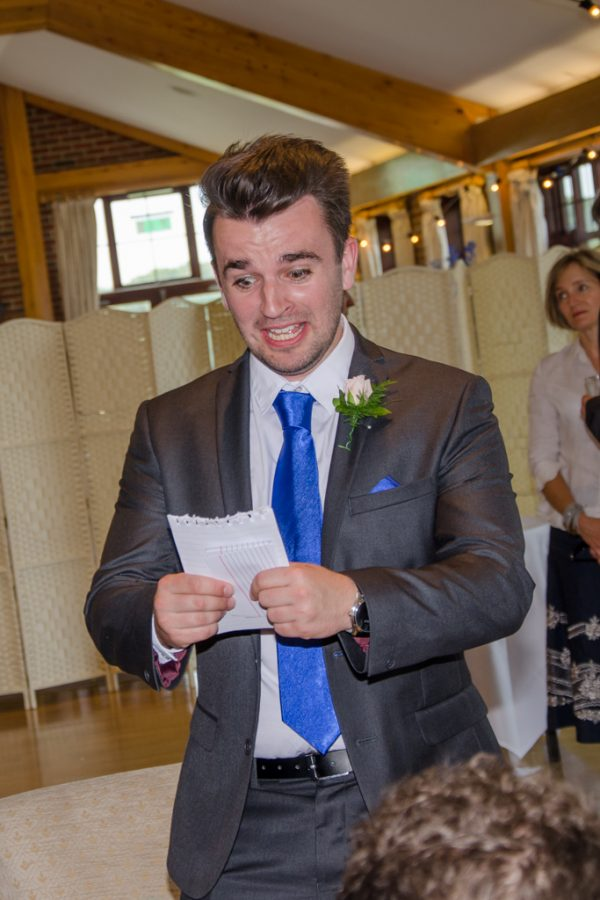 Best man showing fear over wedding speech