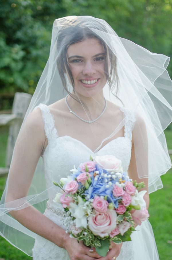 Bride with veil over face at Surrey National Golf Club